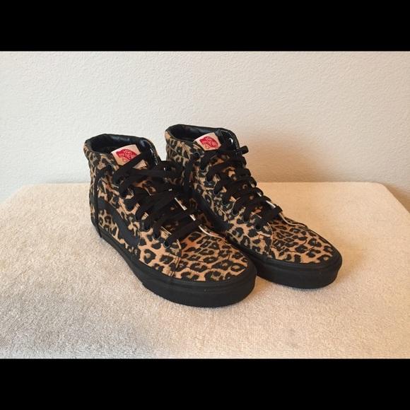 aedc678783b8 Vans Shoes | Custom Leopard Print High Top Womens 75 | Poshmark